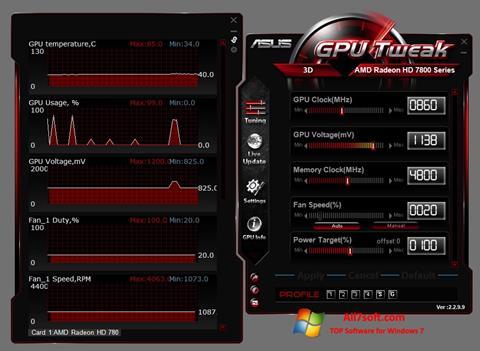 Captura de pantalla ASUS GPU Tweak para Windows 7