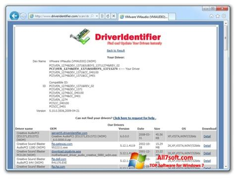 Captura de pantalla Driver Identifier para Windows 7