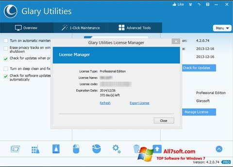 Captura de pantalla Glary Utilities para Windows 7