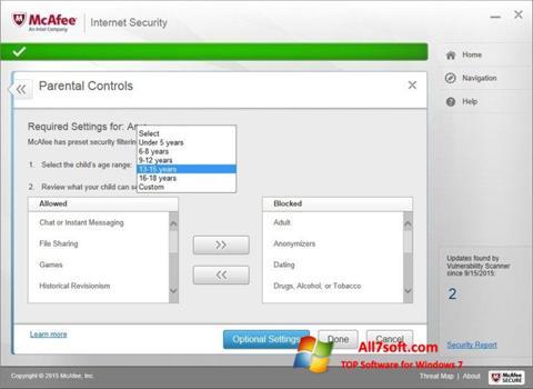 Captura de pantalla McAfee para Windows 7