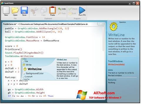 Captura de pantalla Small Basic para Windows 7