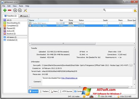 Captura de pantalla qBittorrent para Windows 7