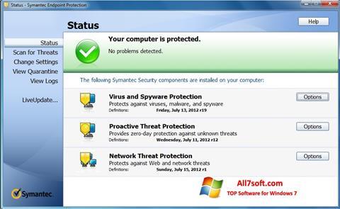 Captura de pantalla Symantec Endpoint Protection para Windows 7