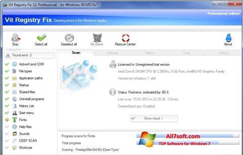 Captura de pantalla Vit Registry Fix para Windows 7