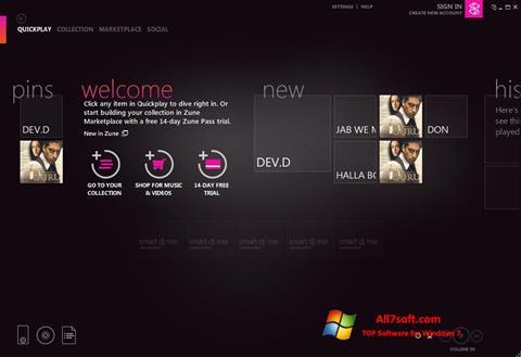 Captura de pantalla Zune para Windows 7