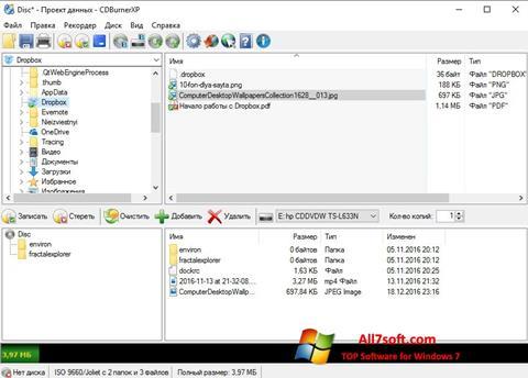 Captura de pantalla CDBurnerXP para Windows 7