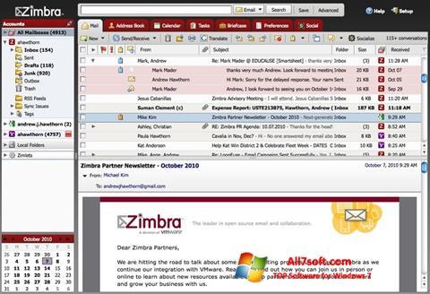Captura de pantalla Zimbra Desktop para Windows 7