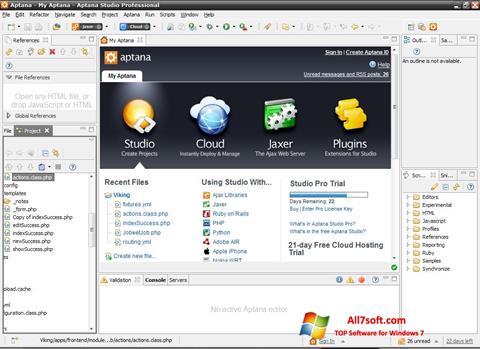 Captura de pantalla Aptana Studio para Windows 7