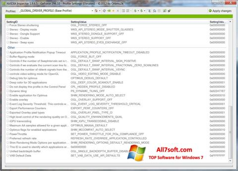 Captura de pantalla NVIDIA Inspector para Windows 7