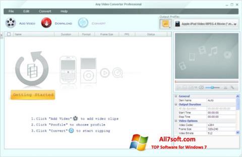 Captura de pantalla Any Video Converter para Windows 7