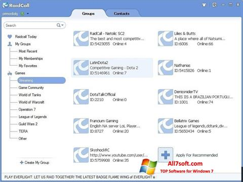 Captura de pantalla RaidCall para Windows 7