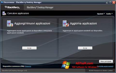 Captura de pantalla BlackBerry Desktop Manager para Windows 7