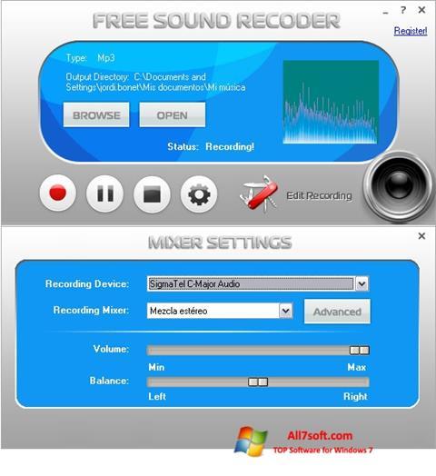 Captura de pantalla Free Sound Recorder para Windows 7