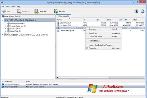 Captura de pantalla Active Partition Recovery para Windows 7