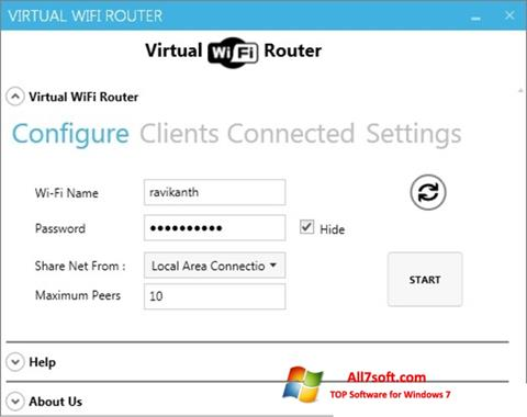 Captura de pantalla Virtual WiFi Router para Windows 7