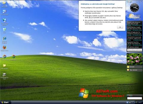 Captura de pantalla Google Desktop para Windows 7