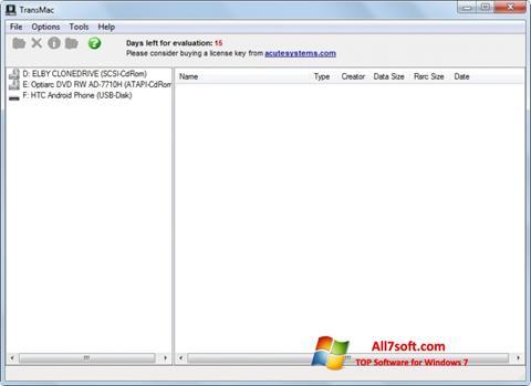 Captura de pantalla TransMac para Windows 7