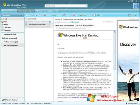 Captura de pantalla Windows Live Mail para Windows 7