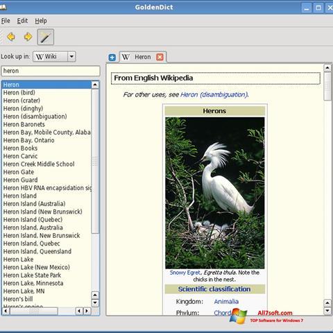 Captura de pantalla GoldenDict para Windows 7