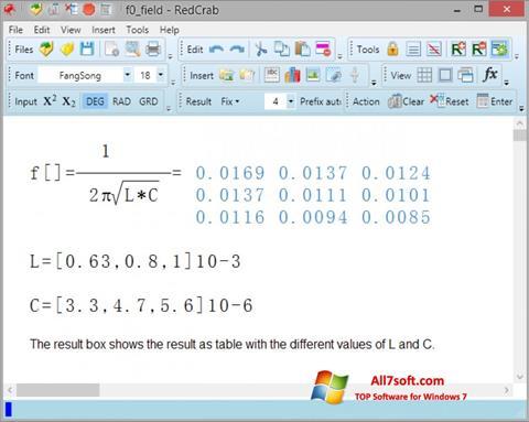 Captura de pantalla RedCrab Calculator para Windows 7