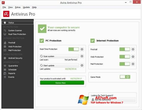 Captura de pantalla Avira Antivirus para Windows 7