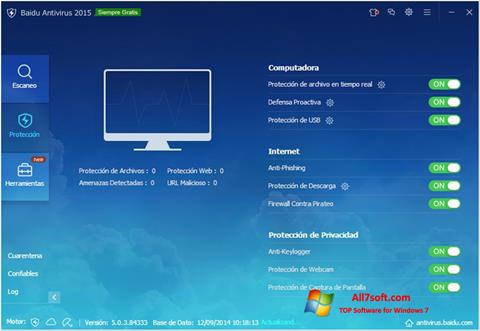 Captura de pantalla Baidu Antivirus para Windows 7