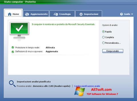 Captura de pantalla Microsoft Security Essentials para Windows 7