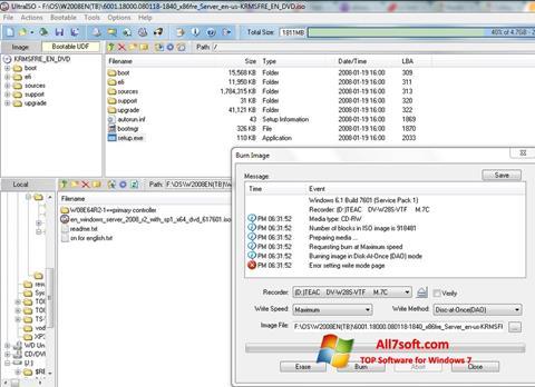 Captura de pantalla UltraISO para Windows 7