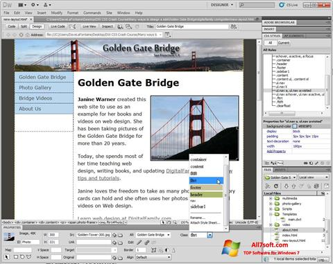 Captura de pantalla Adobe Dreamweaver para Windows 7