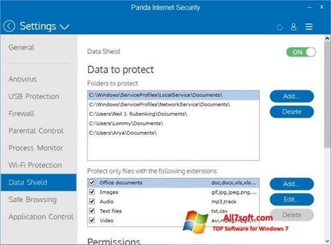 Captura de pantalla Panda Internet Security para Windows 7