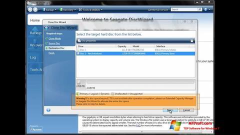 Captura de pantalla Seagate DiscWizard para Windows 7