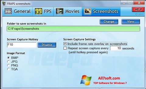 Captura de pantalla Fraps para Windows 7