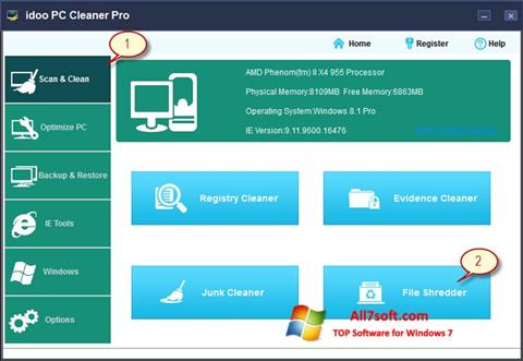 Captura de pantalla PC Cleaner para Windows 7