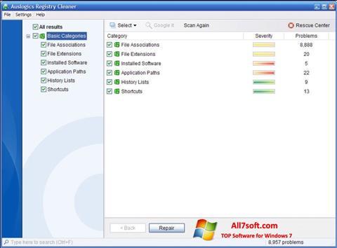 Captura de pantalla Auslogics Registry Cleaner para Windows 7