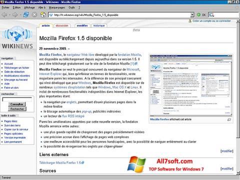 Captura de pantalla Mozilla Firefox para Windows 7