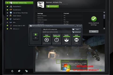 Captura de pantalla NVIDIA GeForce Experience para Windows 7