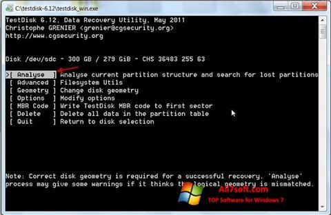 Captura de pantalla TestDisk para Windows 7