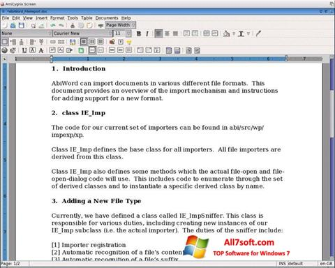Captura de pantalla AbiWord para Windows 7
