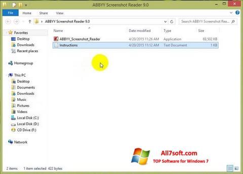 Captura de pantalla ABBYY Screenshot Reader para Windows 7