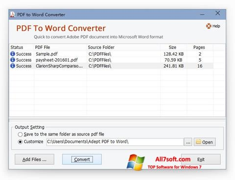 Captura de pantalla PDF to Word Converter para Windows 7