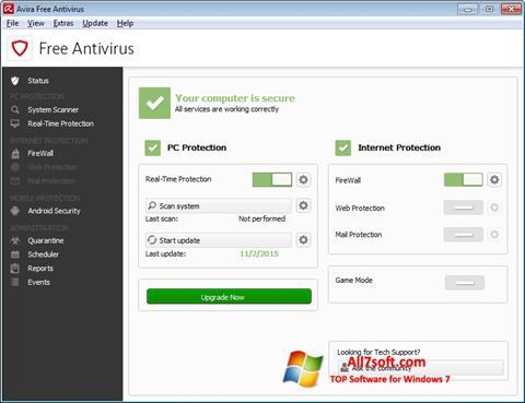 Captura de pantalla Avira Free Antivirus para Windows 7