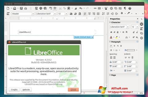 Captura de pantalla LibreOffice para Windows 7