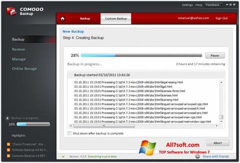 Captura de pantalla Comodo BackUp para Windows 7