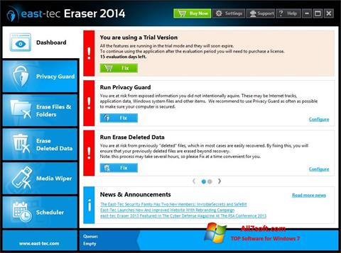 Captura de pantalla East Tec Eraser para Windows 7