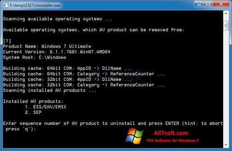 Captura de pantalla ESET Uninstaller para Windows 7