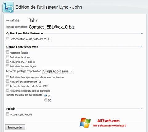 Captura de pantalla Lync para Windows 7