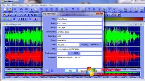 Captura de pantalla GoldWave para Windows 7