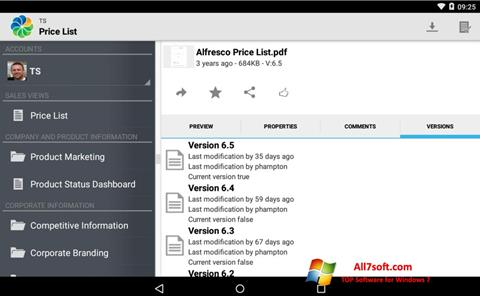 Captura de pantalla Alfresco para Windows 7
