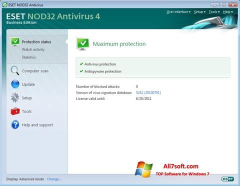 Captura de pantalla ESET NOD32 para Windows 7