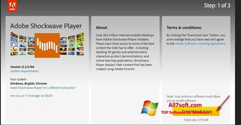 Captura de pantalla Adobe Shockwave Player para Windows 7